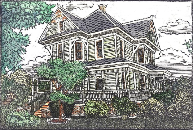 Denton County Bayless Selby House, 2014 (Woodcut) by Joe Duncan Illustration